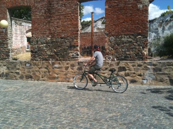 Alex alone on the tandem bike